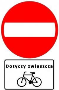 Zakaz wjazdu + tabliczka Dotyczy zwłaszcza rowerów