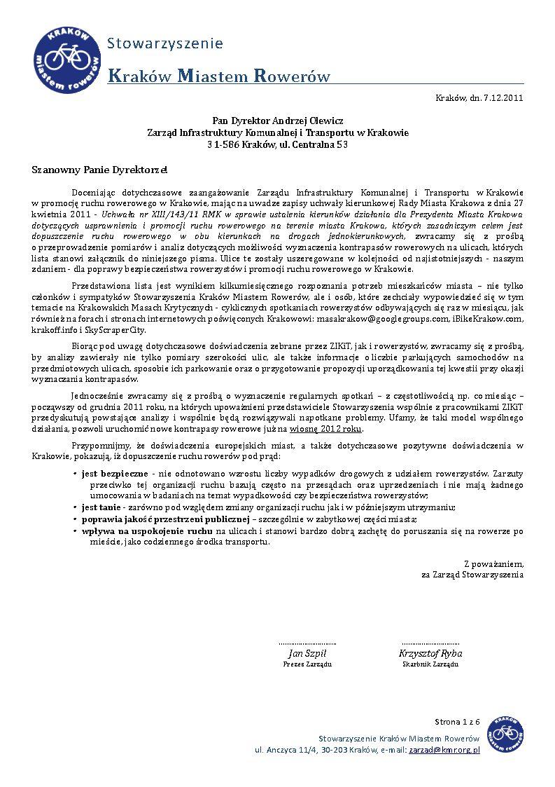 Wniosek SKMR o wyznaczenie nowych kontrapasów rowerowych w Krakowie